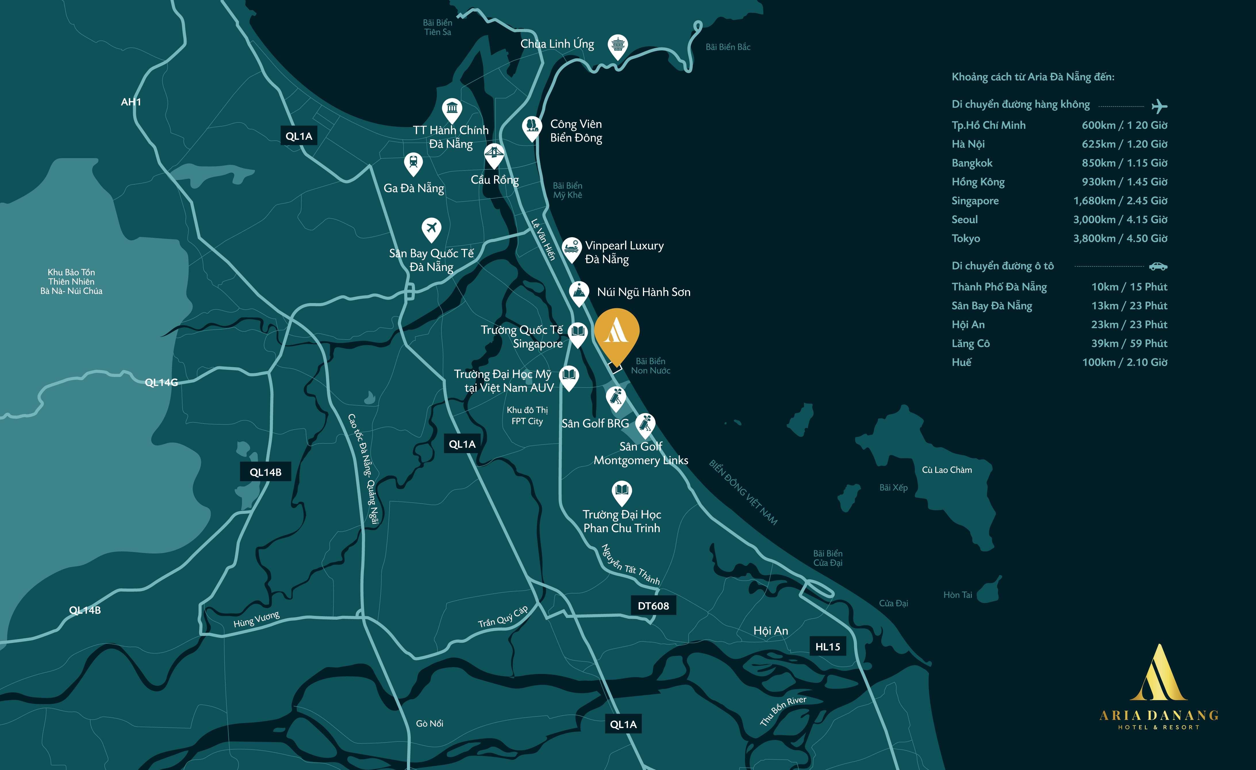 Map ARIA ĐÀ NẴNG HOTEL & RESORT - Đất xanh Đà Nẵng